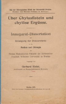 Über Chylusfisteln und chylöse Ergüsse.