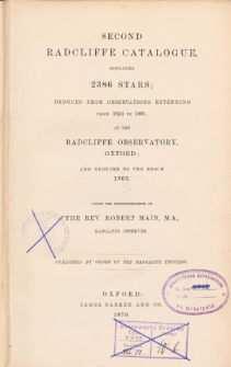 Second Radcliffe Catalogue containing 2386 stars