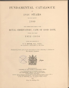 Fundamental catalogue of 1846 stars for the equinox 1900