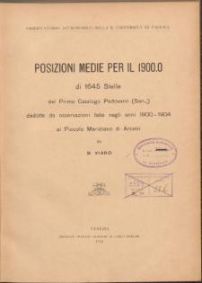 Posizioni medie per il 1900.0 di 1645 stelle del Primo Catalogo Padovano
