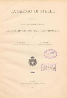 Catalogo di stelle compilato sulle osservazioni fatte All'Osservatorio del Campidoglio