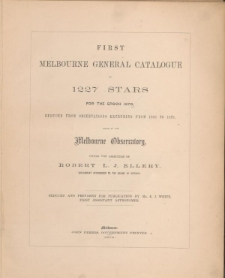 First Melbourne General Catalogue of 1227 stars for the epoch 1870