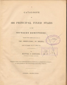 A catalogue of 606 principal fixed stars in the southern hemisphere