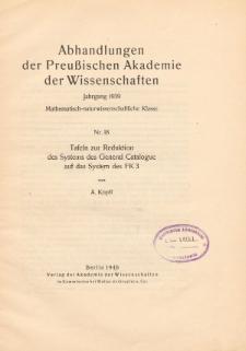 Tafelen zur Reduktion des Systems des General Catalogue auf das System des FK 3