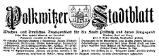 Polkwitzer Stadtblatt. Wochen und Amtliches Anzeigenblatt für die Stadt Polkwitz und deren Umgegend 1925-05-23 Jg. 43 Nr 41