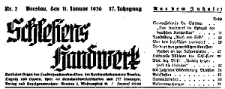 Schlesiens Handwerk. Amtliches Organ des Landeshandwerksmeisters der Handwerkskammern Breslau, Liegnitz, und Oppeln 1936-11-14 Jg. 17 Nr 46