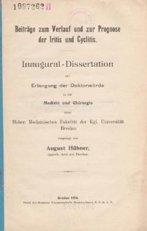 Beiträge zum Verlauf und zur Prognose der Iritis und Cyclitis.