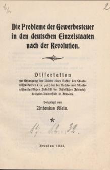Die Probleme der Gewerbesteuer in den deutschen Einzelstaaten nach der Revolution.