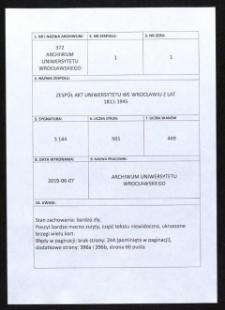 Acta specialia betreffend Ehrenbürger der Universität Breslau, 6.08.1920 - 31.08.1931