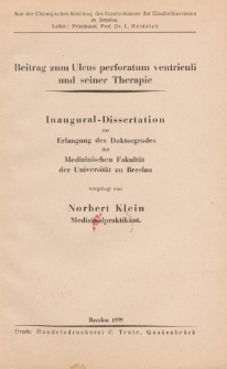 Beitrag zum Ulcus perforatum ventriculi und seiner Therapie.