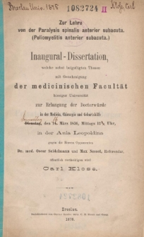 Zur Lehre von der Paralysis spinalis anterior subacuta : (Poliomyelitis anterior subacuta).