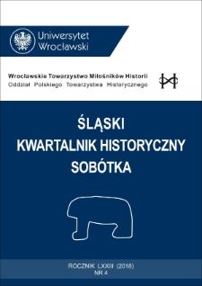 Śląski Kwartalnik Historyczny Sobótka. 2018, nr 4