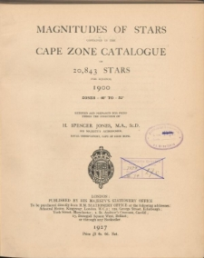 Magnitudes of stars contained in the Cape Zone Catalogue of 20,843 stars for equinox 1900 zones -40° to -52°