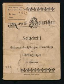 Kloster Heinrichau. Festschrift zur siebenhundertjährigen Wiederkehr des Stiftungstages