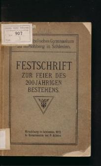 Königl. evangelisches Gymnasium zu Hirschberg in Schlesien. Festschrift zur Feier des zweihundertjährigen Bestehens