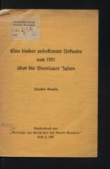 Eine bisher unbekannte Urkunde von 1301 über die Breslauer Juden