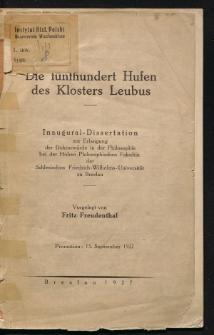 Die fünfhundert Hufen des Klosters Leubus