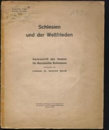 Schlesien und der Weltfrieden. Denkschrift des Vereins für Geschichte Schlesiens