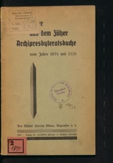 Die Dörfer aus dem Zülzer Archipresbyteratsbuche vom Jahre 1674 und 1719