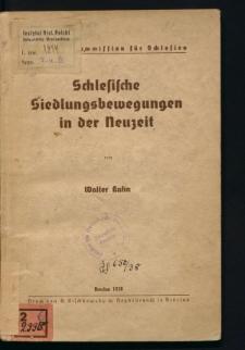 Schlesische Siedlungsbewegungen in der Neuzeit