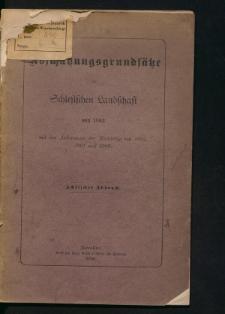 Die Abschätzungsgründsätze der schlesischen Landschaft von 1883 mit den Änderungen der Nachträge von 1895, 1901 und 1909