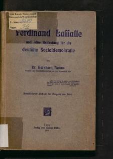 Ferdinand Lassalle und seine Bedeutung für die deutsche Sozialdemokratie