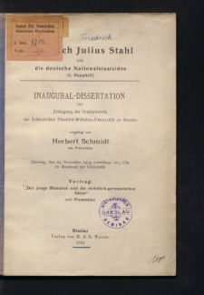 Friedrich Julius Stahl und die deutsche Nationalstaatsidee