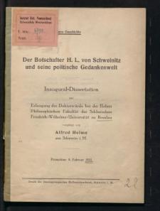 Der Botschafter H. L. von Schweinitz und seine politische Gedankenwelt