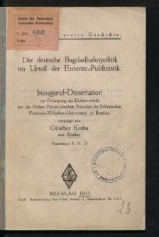 Die deutsche Bagdadbahnpolitik im Urteil der Entente-Publizistik