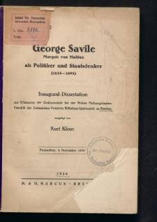 George Savile Marquis von Halifax als Politiker und Staatsdenker (1633-1695)