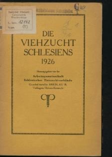 Die Viehzucht Schlesiens 1926