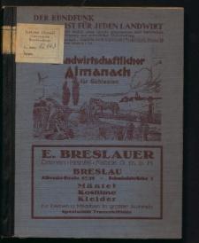 Landwirtschaftlicher Almanach für Schlesien. Unter Mitwirkung der Landwirtschaftskammer Niederschlesien, mit Bezugsquellen Nachweis