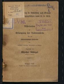 Nachkriegssiedlung in Schlesien auf Grund des Reichssiedlungsgesetzes vom 11. 8. 1919