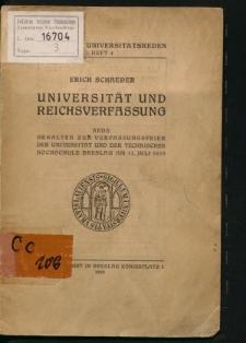 Universität und Reichsverfassung. Rede gehalten zur Verfassungsfeier der Universität und der Technischen Hochschule Breslau am 13. Juli 1929