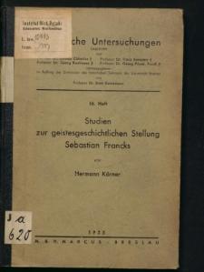 Studien zur geistesgeschichtlichen Stellung Sebastian Francks