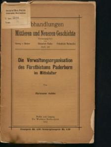 Die Verwaltungsorganisation des Fürstbistums Paderborn im Mittealter