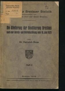 Die Gliederung der Bevölkerung Breslaus nach der Berufs- und Betriebszählung vom 16. Juni 1925