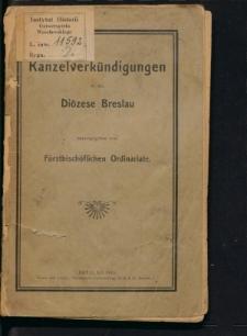 Kanzelverkündigungen in der Diözese Breslau