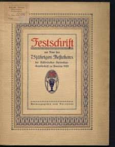 Festschrift zur Feier des 75 jährigen Bestehens der Schlesischen Gartenbau-Gesellschaft Breslau