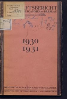 Geschäftsbericht der Handwerkskammer zu Breslau für das Jahr 1930/31