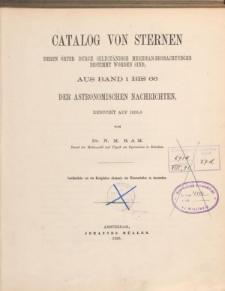 Catalog von Sternen deren Örter durch Selbständige Meridian-Beobachtungen bestimmt worden sind, aus Band 1 bis 66 der Astronomischen Nachrichten, reducirt auf 1855.0