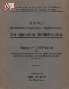 Beiträge zur Kenntnis einheimischer Arzneipflanzen : die officinellen Melilotusarten.
