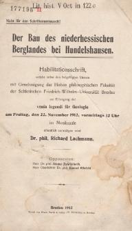 Der Bau des niederhessischen Berglandes bei Hundelshausen