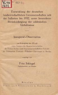 Entwicklung der deutschen landwirtschaftlichen Genossenschaften seit der Inflation bis 1932, unter besonderer Berücksichtigung der schlesischen Verhältnisse
