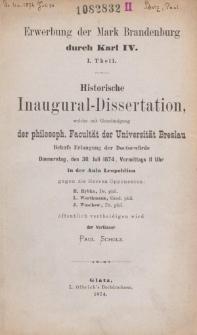 Erwerbung der Mark Brandenburg durch Karl IV. T. 1