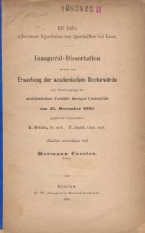 Elf Fälle subcutaner Injectionen von Quecksilber bei Lues.
