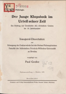 Der Junge Klopstock im Urteil seiner Zeit : ein Beitrag zur Geschichte des deutschen Geistes im 18. Jahrhundert.