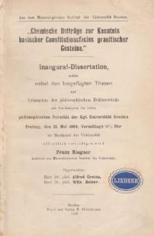 Chemische Beiträge zur Kenntnis basischer Constitutionsfacies granitischer Gesteine
