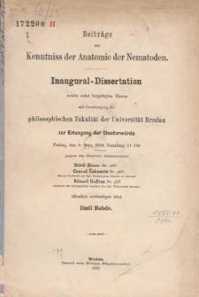 Beiträge zur Kenntniss der Anatomie der Nematoden