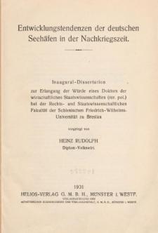 Entwicklungstendenzen der deutschen Seehäfen in der Nachkriegszeit